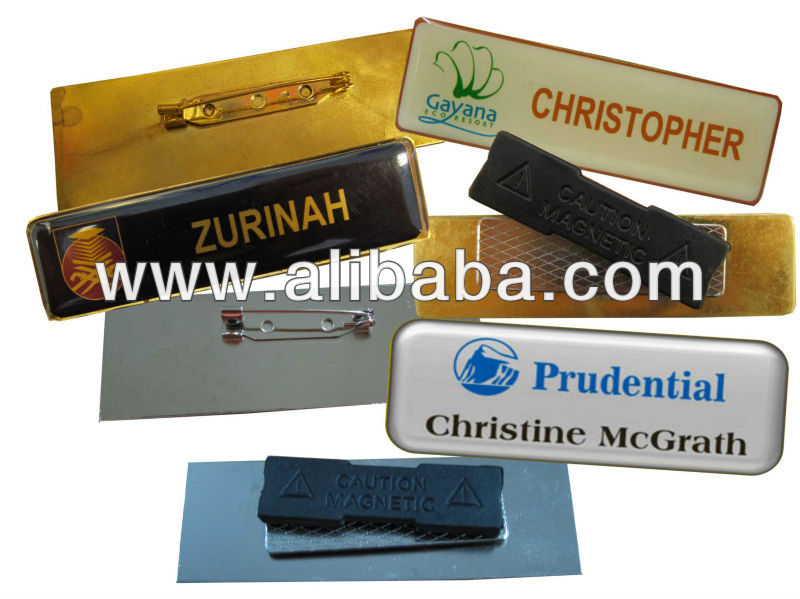 Metal Name Tag With Pin/Magnet (Silver/Gold