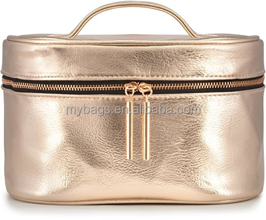 Large Metallic Cosmetic Makeup Toiletry Organizer rose gold cosmetic bag for Travel & Storage