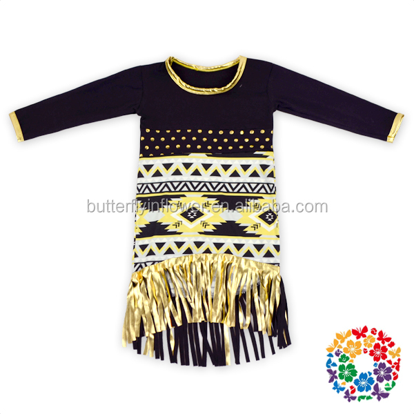 wholesale children frocks designs fancy long sleeve baby girls tassel fall party dress