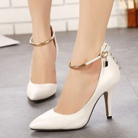 SAA4470 Stiletto Lady Shoes Fancy Metal