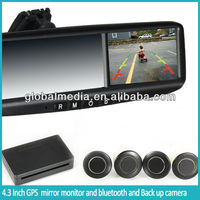 "4.3"" high digital gps mirror with FM/ Bluetooth/ TWO-AV input/ homelink auto backup dis play"