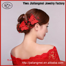 Bridal jewelry wholesale handmade Korean bride butterfly shaped hair pin wedding tiara 2 color