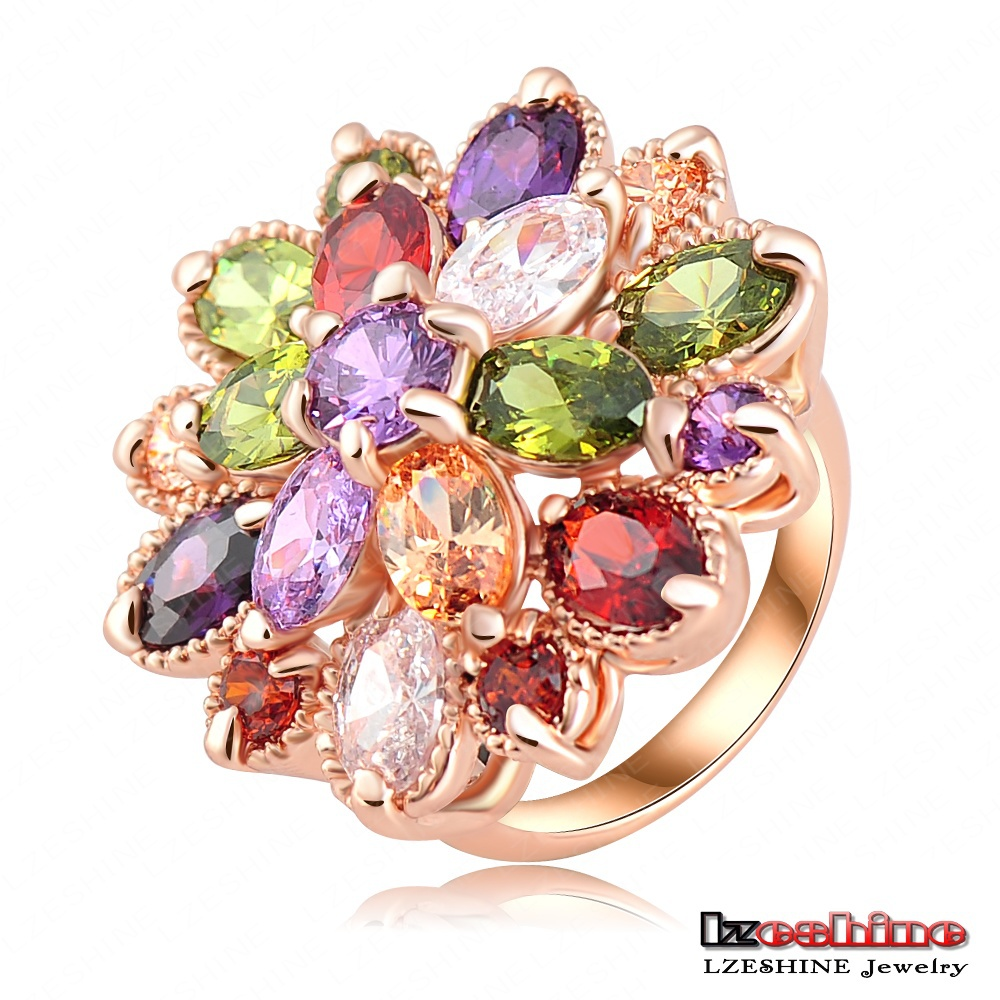Rose Gold Plated Expendables Lucky Ring Multi-color Stone Flower Female Ring Fashion CRI0255-A