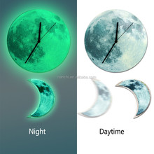 Glowing Full Moon Wall Clock with Crescent Moon Pendulum 3D Acrylic Night Lighting Clocks for Valentine's Day Gift