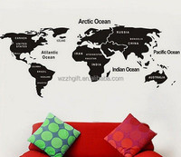 Large World Map Wall Sticker Art Decal Home Office Decor Map of World Black 41""