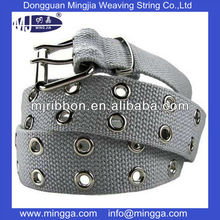 custom design polyester textile gray metal eyelet belt with pin buckle