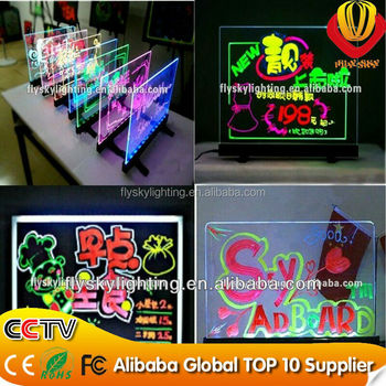 LED writing board/magic led write glow board/led neon marker drawing board/aliexpress advertising led writing board