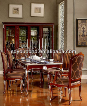 Neo-classic YB06 luxury good quality dining room set wooden long dinning table and chair