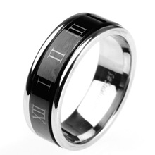 Couple Simple PVD Plated Ring Perfect Designs Spikes Stainless Steel Roman Numerals Ring Plain Jewelry Ring