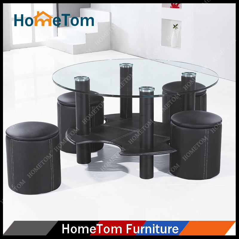Clear Tempered Glass Top High Gloss Round Coffee Table with Four Stools