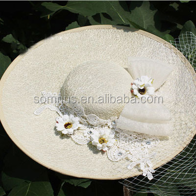 Fancy Wedding and Church Women Dress Flower Bow Hats with Veil