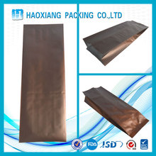 aluminium foil packaging Standing Side Gusset Quad Seal Flat Block Bottom Coffee Bags with Valve