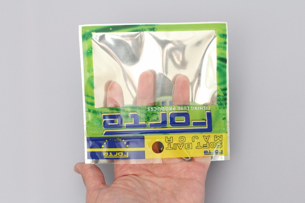 130mm*120mm*0.089mm Ziploc Aluminized Foil Front Clear Back Plastic Bag For Artifical Fishing Lure