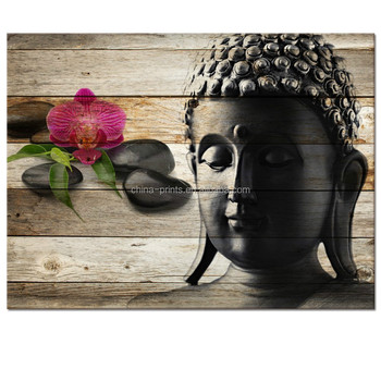 Buddha Canvas Wall Art,Well Designed Double Exposure Image Artwork,Peaceful Zen Stone Buddha On Wood Board Canvas Prints Paint