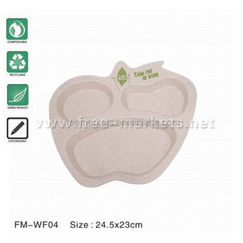 FDA SGS audited food grade natural wheat fiber dishes plates trays