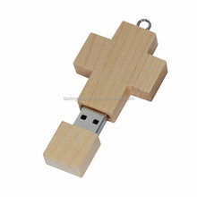 eco-friendly wooden cross shaped christian holly bible usb flash drive