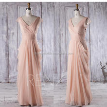Peach Chiffon Bridesmaid Dress Draped Party V neck Formal Dress