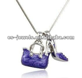 Crystal Purple Enamel Handbag and Shoe Pendant Necklace Fashion Jewelry