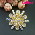2017 Newest Gold Plating Rhinestone Bling Korean Flower Brooch Wedding Bouquet For Men