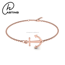 Fashion Stainless Steel Rose Gold Womens Anchor Hook Bracelet
