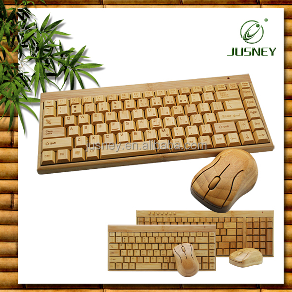 Wholesale 2.4ghz USB wireless bamboo keyboard and mouse combo
