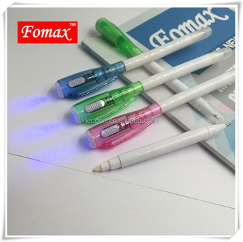 UV money counterfreit detector pen, invisible ink pen