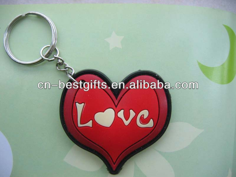 2015 Heart love rubber keychains