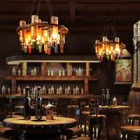 Cast Bar Lights Wine Bottle Decorative Hand Blown Glass Chandelier
