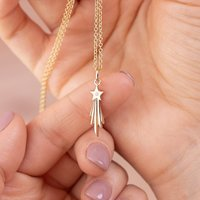 Stainless Steel Women Jewelry, Personalised 9 Carat Gold and Diamond Shooting Star Necklace,Mother's Day Gift