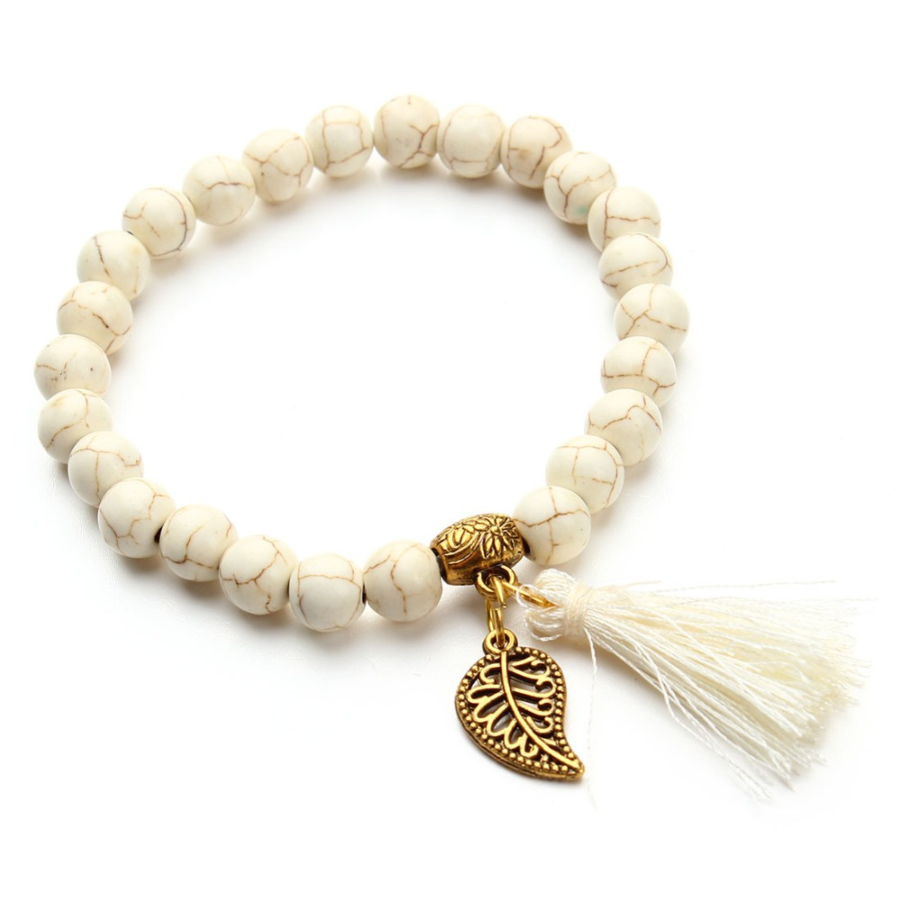 2017 New Stone Jewellery Wholesale Howlite Bead Tassel Bracelet for Women