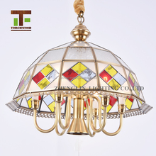 zhongshan factory price modern decorative color glass round modern crystal led pendant light