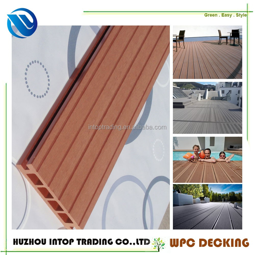 new products hollow and grooved deck board fireproof wood plastic composite decking anti slip