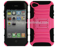 2-in-1 combo mobile case with stand for iphone 4/colorful useful stand case for iphone 4/waterproof case for iphone