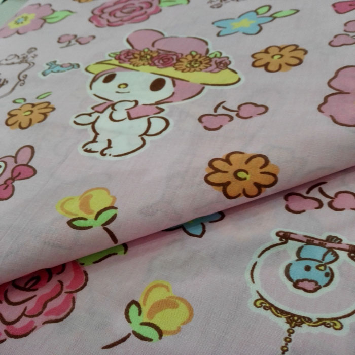 Print Poly Cotton Bed Sheet Fabric 45x45 133x72 Poplin Pink Color Textile