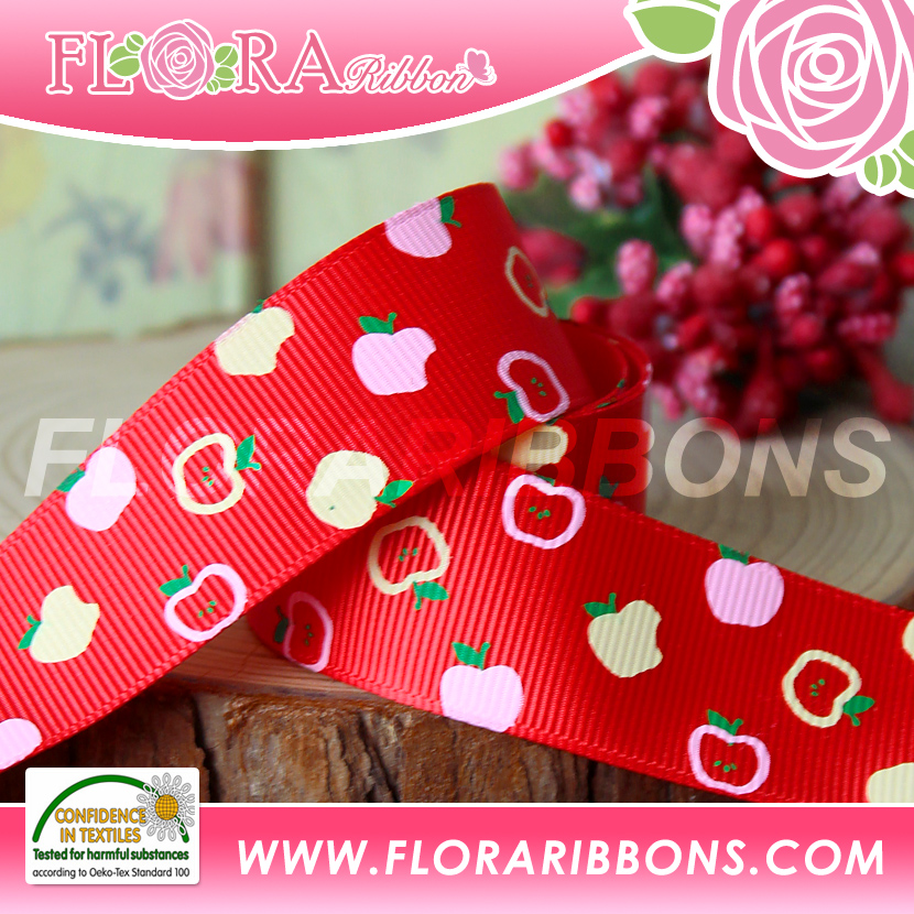Customerized 3 Colors Silk Screen Grosgrain Ribbon
