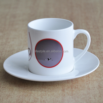 220cc ceramic cup&saucer,can shape cup&saucer with decal,for promotional