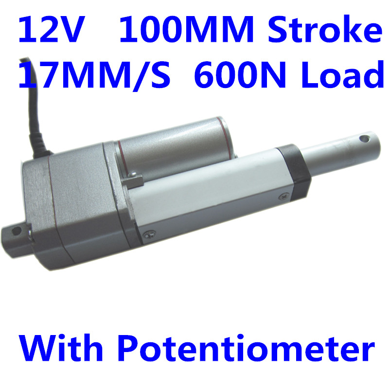 12V <strong>DC</strong> 17mm/s speed 100mm stroke 600N 132LBS Load linear actuator with potentiometer GMT-LA12
