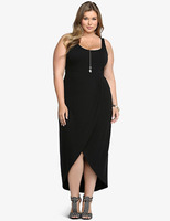 S31516A Women Casual Strapless Dress Sexy Ladies A-line Front Open Plus Size Dresses Vestidos