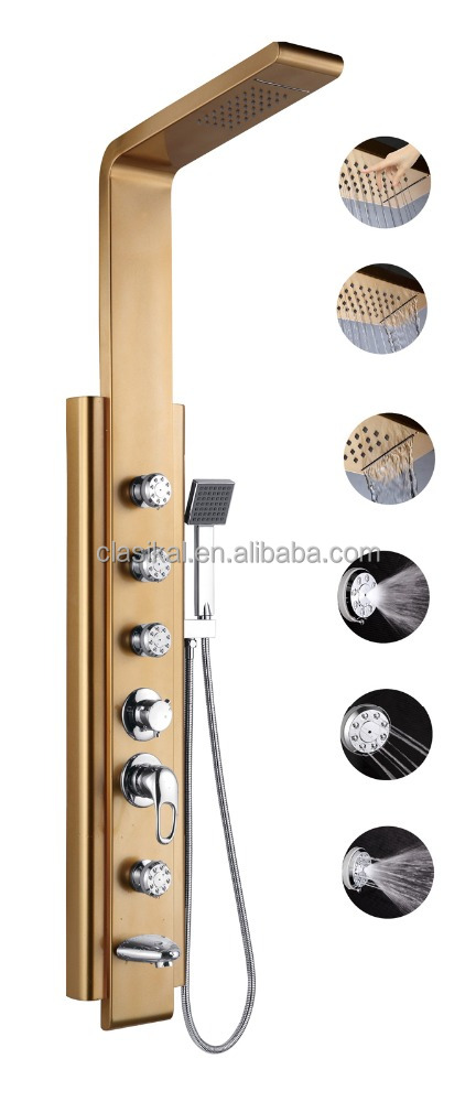 Gold color multi-function elegant beautiful cheap corner shower column
