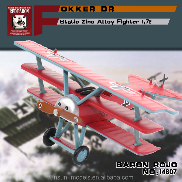 "hot sale 1:72 scale zinc alloy material FOKKER DR 1""BARON ROJO"" toy aircaft plane <strong>models</strong> diecast <strong>modelling</strong> for collection"