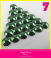 Iron On Nailhead Dome Studs For Jeans Green 3mm/4mm