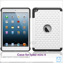 pc+silicone hybrid shockproof case for ipad mini 4 with diamond