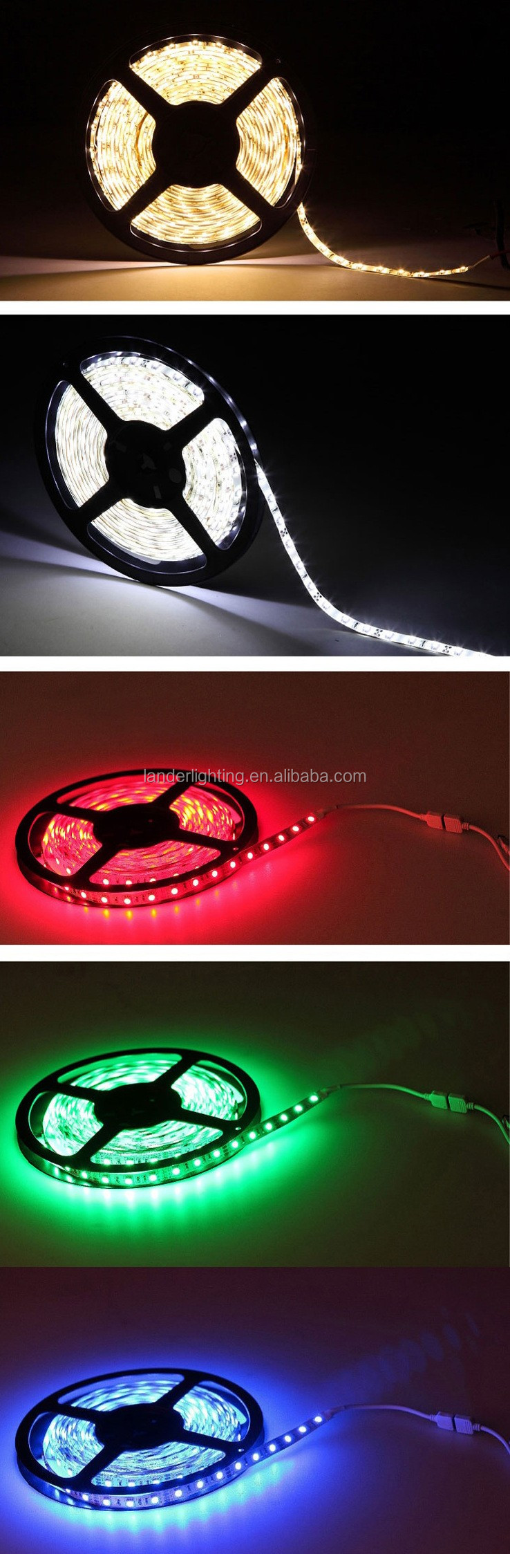 non-waterproof 30leds 60leds/m with RGB contronller 12Vot 5m/roll 5050rgb led strip