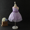2017 hot sale product children girls summer party dress with purple color