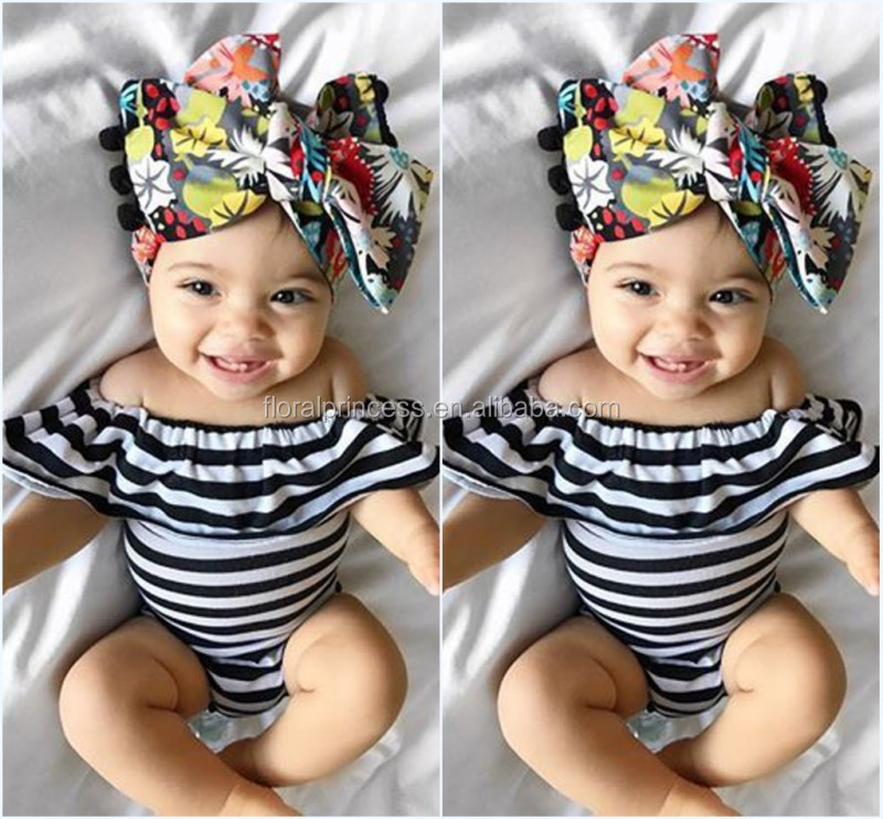 Wholesale 2017 Summer <strong>Baby</strong> Girl Black And White Striped Off Shoulder Triangle Romper Cotton Bodysuit Playsuit