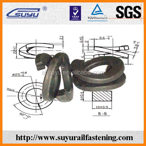 Fe6 double coil spring washer for railway screw spike
