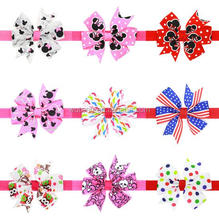 Persnickety Boutique Baby Girls Headbands Pattern Printed Fabric Hair Bow For Baby Girls Hair Accessories Baby Elastic Headband
