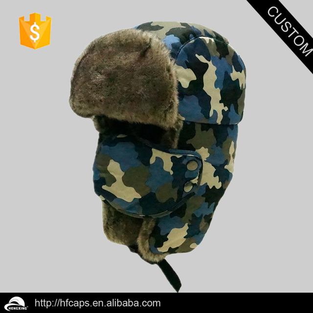 Wholesale camouflage faux fur trapper hat winter earflap cap