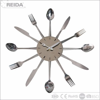 Reida quartz analog metal knife and spoon large home decoration wall clock