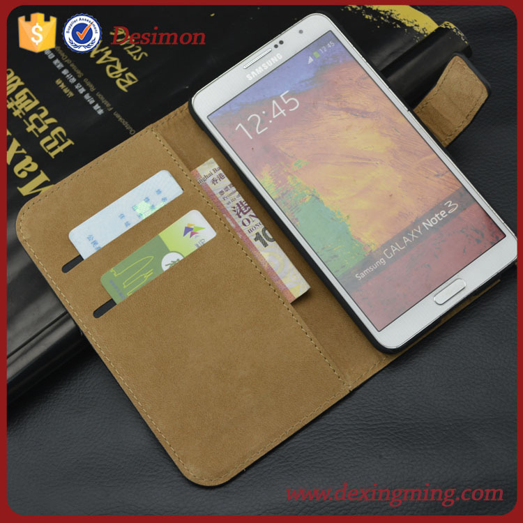desimon flip case for samsung galaxy note 3 ,factory price cover for samsung note 3 case with card slot